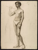 view Sketch of an artists' model holding a rope for support digital asset number 1