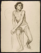 view Sketch of an artists' model seated on a stool digital asset number 1