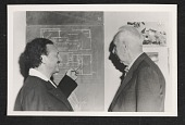 view R. M. Schindler and Theodore Dreiser looking at a blueprint of the Bethlehem Baptist Church digital asset number 1