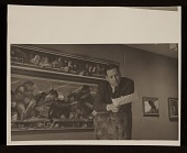 view Edward Melcarth in front of his painting entitled <em>Last Supper</em> digital asset number 1