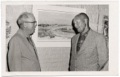 view Bruce Mitchell and Dr. Bower with one of Mitchell's paintings. digital asset number 1