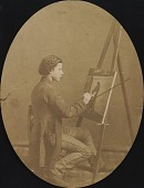 view Henry Mosler working on a painting digital asset number 1