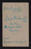view Art of This Century exhibition announcement for <em>Robert Motherwell: Paintings, papiers collés, drawings</em> digital asset: postcard back 2