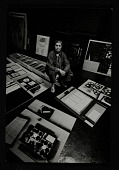 view Louise Nevelson sitting among artwork in her studio digital asset number 1