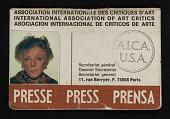 view International Association of Art Critics identification card digital asset number 1