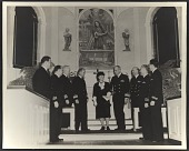 view Violet Oakley and naval officers at the dedication of her triptych altarpiece <em>Christ the Carpenter</em> at the Philadelphia Naval Base Chapel digital asset number 1