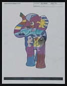 view Color photocopy of frontal elephant sketch from <em>Party Animals</em> proposal file digital asset number 1