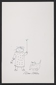 view Miné Okubo sketch of a girl and a cat digital asset number 1