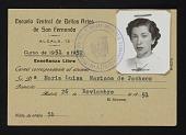 view Maria Luisa Pacheco's Escuela Central de Bellas Artes de San Fernando student identification card digital asset number 1