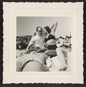 """view Andy Warhol and Corinne """"Corky"""" Kessler at Fire Island Beach digital asset number 1"""