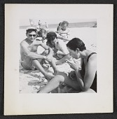 view Dorothy Cantor with her cousins Bill and Gloria Hankin on Fire Island Beach digital asset number 1
