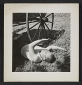 view Philip Pearlstein on grass at the Carnegie Institute of Technology, ca. 1948. digital asset number 1