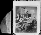 view John Peto in studio, holding a palette and wearing a striped artist's jacket digital asset number 1