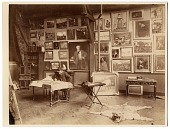 view Alfred Roll in his studio, painting digital asset number 1