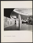 view Interior of the United States Pavilion at the Brussels World's Fair, with eye-level view of Saul Steinberg's mural <em>The Americans</em> digital asset number 1