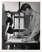 view Hans Moller sketching in his studio digital asset number 1