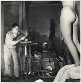 view Milton Hebald working on a sculpture digital asset number 1