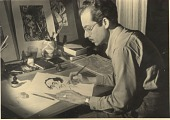 view Enrique Riverón at work on a caricature of Leo Matiz digital asset number 1