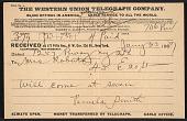 view Pamela Colman Smith, New York, N.Y. telegram to Mary Fanton Roberts, New York, N.Y. digital asset number 1