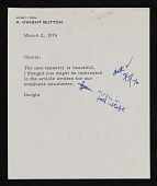 view Dwight Button letter to Helen Frankenthaler with Fourth National Bank and Trust Company newsletter digital asset number 1