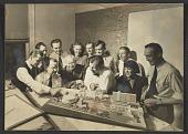 view Eero Saarinen, Eliel Saarinen, Lilian Swann Saarinen and others with model for Detroit Civic Center digital asset number 1