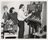 view Palmer Schoppe in his studio with his wife Maria and their daughter Christine. digital asset number 1