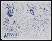 view Blue ink drawing of musicians digital asset number 1