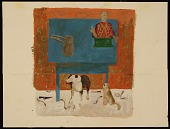 view Honoré Sharrer study for the painting <em>Two dogs in a still life</em> digital asset number 1