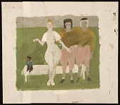 view Nude woman with two athletes and a monkey digital asset number 1