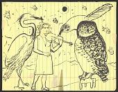 view Honoré Sharrer sketch of a violinist and over-sized birds digital asset number 1