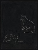 view Ink drawing of a cat and three mice digital asset number 1