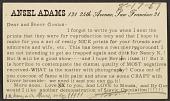 view Ansel Easton Adams postcard to Charles Sheeler digital asset number 1
