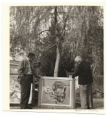 view Charles Sheeler and Bill Lane outdoors with a painting digital asset number 1