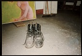 view Hassel Smith's shoes on studio floor digital asset number 1
