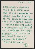 view Carl Andre letter to Nancy Holt digital asset number 1