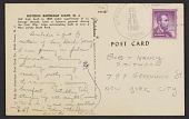 view Eva Hesse, New Jersey postcard to Robert Smithson, New York, New York digital asset: postcard back 1