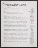 view Doris C. Freedman, Ellie Amel and Klaus Kertess memorandum to Citizens for Artist Housing digital asset number 1