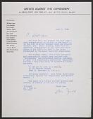 view Donald Judd on behalf of Artists Against the Expressway letter to Gerhardt Liebmann digital asset number 1