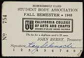 view Kay Sekimachi's California College of Arts and Crafts student body association membership card digital asset number 1