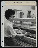 view Mounted photograph of Kay Sekimachi at her loom by Stone and Steccati digital asset number 1