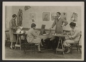 view George Leslie Stout with Radcliffe students in class at the Fogg Art Museum digital asset number 1
