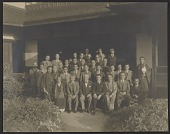 view George Leslie Stout, Langdon Warner, and Japanese officials at Nishi Honganji temple in Kyoto, Japan digital asset number 1