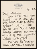 view Joan Mondale letter to Toshiko Takaezu digital asset number 1