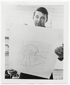 view Richard Diebenkorn holding one of his lithographs digital asset number 1