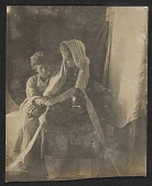 view Jessie Olssen Tanner and Jesse Ossawa Tanner posing for Henry Ossawa Tanner's painting <em>Christ and his mother studying the scriptures</em> digital asset number 1