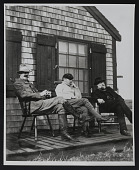 view Photograph of Frank Benson, Edmund Tarbell, and Otto Gruberman at the Cape North Shore in Massachusetts digital asset: front