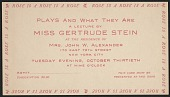 "view Ticket to Gertrude Stein's lecture ""Plays and what they are"" digital asset number 1"