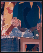 view Photograph of André Thibault/Teabo holding Romare Bearden's collage <em>Autumn</em> digital asset number 1