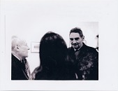 view Wayne Thiebaud one man exhibit at Allan Stone Gallery, (left to right) Barnett Newman, Betty Jean Thiebaud, and Harold Rosenberg digital asset number 1