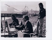 view Wayne Thiebaud (center) painting in the China Basin area of San Francisco with Gregory Knodas (left) and Gene Cooper (right). digital asset number 1